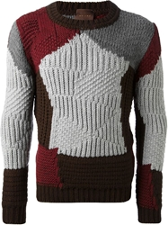 Relive Knitted Paneled Sweater Grey