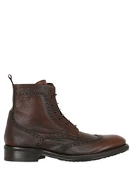 Ernesto Dolani Brogue Textured Leather Lace Up Boots