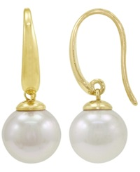 Majorica Pearl Earrings 18K Gold Over Sterling Silver Organic Man Made Pearl Drops