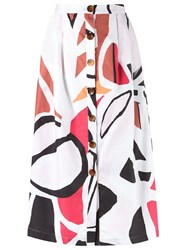 Andrea Marques Printed Midi Skirt White