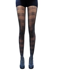 Zac Posen Plaid Knit Tights Black