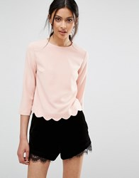 Oasis Top With Scallop Hem Pink
