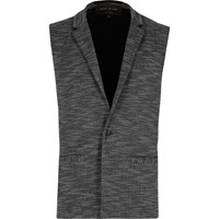 River Island Mens Grey Tailored Sleeveless Blazer