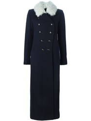 Sonia Rykiel Shearling Collar Military Coat Blue