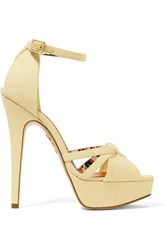 Charlotte Olympia Iola Linen Platform Sandals Pastel Yellow