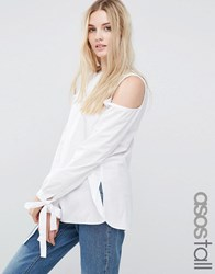 Asos Tall Cold Shoulder Top In Cotton With Tie Cuff Detail White