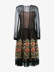 Alberta Ferretti Floral Embroidered Sheer Midi Dress Black Multi Coloured Orange Green Brown Earth
