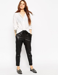 Asos Joggers In Leather Look Black