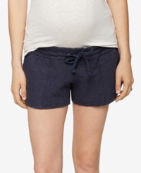 A Pea In The Pod Drawstring Maternity Shorts Deep River Navy
