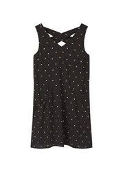 Mango Leaf Print Dress Black
