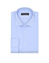 Forzieri Light Blue Woven Checked Cotton Slim Fit Men's Shirt