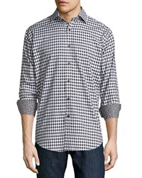 Neiman Marcus Long Sleeve Woven Squares Sport Shirt Black