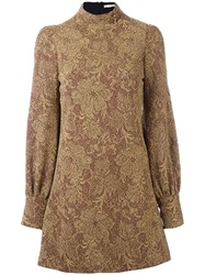 Amen Brocade Dress Metallic