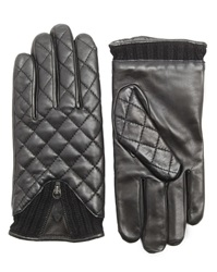 Agnelle Style Quilted Black Gloves