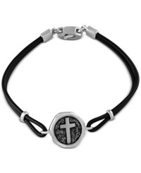 Effy Men's Black Leather Cross Disc Bracelet In Sterling Silver