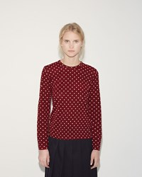 Comme Des Garcons Dot Print Tee Burgundy Off White