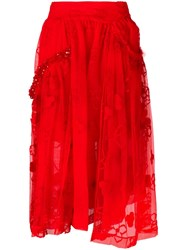 Simone Rocha High Rise Lace Full Skirt Red