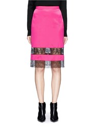 Givenchy Floral Lace Insert Silk Satin Pencil Skirt Pink