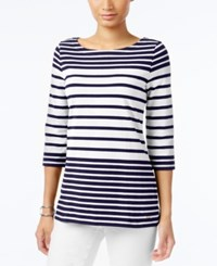 Tommy Hilfiger Lydia Striped Boat Neck Top Snow White Peacoat