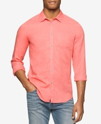 Calvin Klein Jeans Men's Snap Front Long Sleeve Shirt Charged Coral