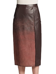Aquilano Rimondi Acid Wash Leather Midi Skirt Maroon