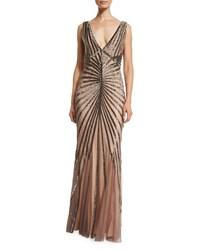 Rachel Gilbert Isla Sleeveless Beaded Tulle Column Gown Brown Women's Size 6 Brown Sequin