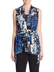 Fuzzi Abstract Print Belted Vest Blue