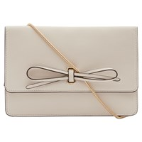 Reiss Farah Leather Bow Front Bag Cream