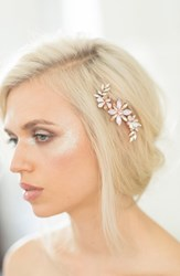 Camilla Christine Large Crystal Flower Comb Rose Gold