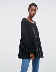 Minimum Moves Jine Gathered Blouse Black
