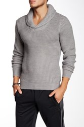 Yoki Shawl Collar Knit Sweater Gray
