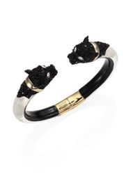Alexis Bittar Lucite And Crystal Encrusted Panther Bangle Bracelet Silver Black