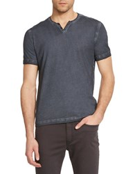 Kenneth Cole Washed Henley T Shirt Steel Grey