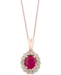Effy Amore By Certified Ruby 1 3 8 Ct. T.W. And Diamond 3 8 Ct. T.W. Bezel Pendant Necklace In 14K Rose Gold