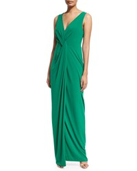 Halston Sleeveless V Neck Twist Front Gown Emerald Green