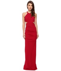 Nicole Miller Belize Cut Out Structured Jersey Gown Red Women's Dress