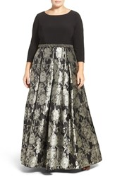 Alex Evenings Plus Size Women's Jersey And Floral Brocade Ballgown