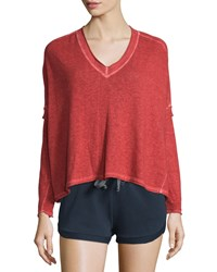 Skin Marisol Long Sleeve V Neck Sweater Red