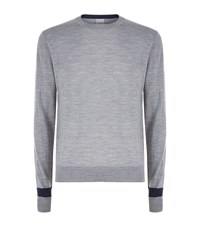 Hardy Amies Colour Block Merino Wool Jumper Male Grey