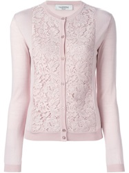 Valentino Lace Front Cardigan Pink And Purple