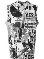 Ktz Newspaper Print Tank Top Nude And Neutrals