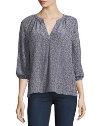 Joie Addie B Printed 3 4 Sleeve Blouse Dark Navy