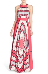 Women's Eliza J Scarf Print Crepe De Chine Fit And Flare Maxi Dress Pink