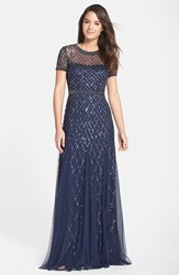 Women's Adrianna Papell Beaded Mesh Gown Navy