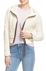 Women's Free People Cable Knit Zip Front Hoodie Wheat