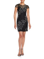 Aidan Mattox Short Sleeve Beaded Dress Black Ivory