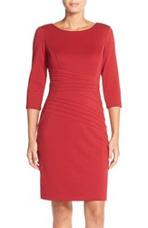 Women's Ellen Tracy Seamed Ponte Sheath Dress Red