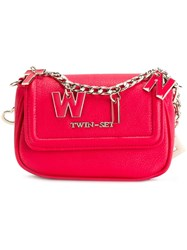 Twin Set Lettered Chain Crossbody Bag Pink Purple