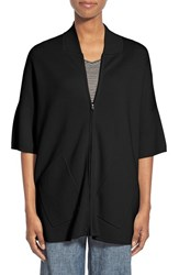 Women's Eileen Fisher Silk And Organic Cotton Stand Collar Sweater Jacket Black
