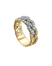 John Hardy Classic Chain 18K Braided Diamond Ring Blue